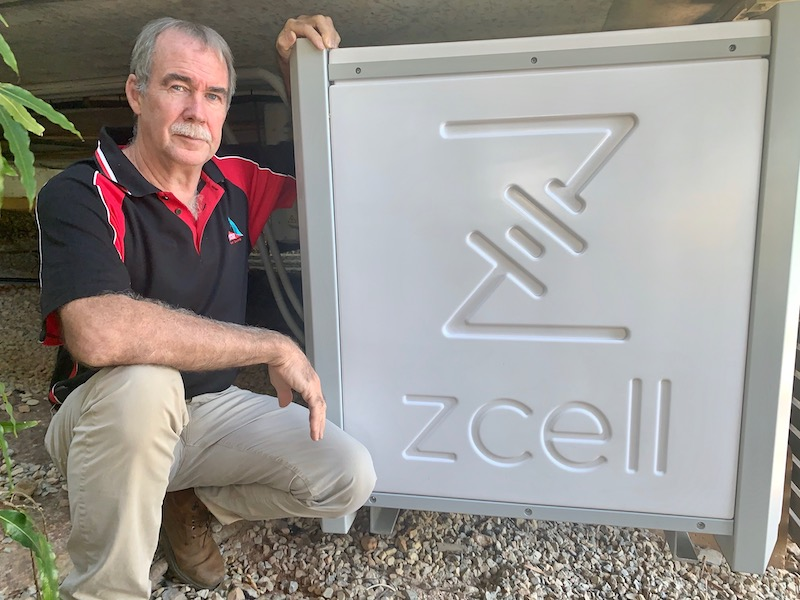 Delta Electrics General Manager Andrew Boller with a Redflow ZCell battery