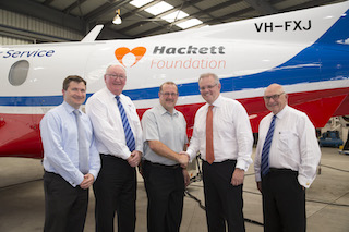 From left, Matt Williams MP, John Lynch, Simon Hackett, Treasurer Scott Morrison and David Hills