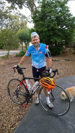 Dean Calvert - still smiling after riding 160km!