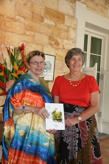 The Hon. Sally Thomas (right) with Denise Goodfellow and her new book