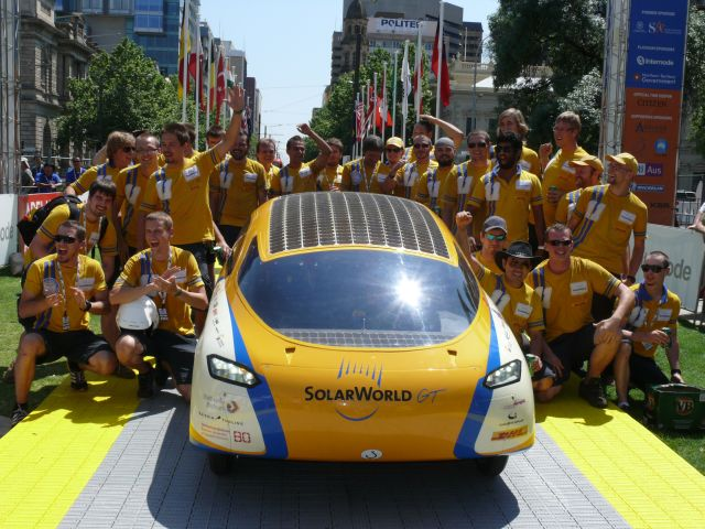 SolarWorld GT at the finish line in Adelaide after traveling  3000km from Darwin in the World Solar Challenge.  2011 WSC winner of the  Design Award