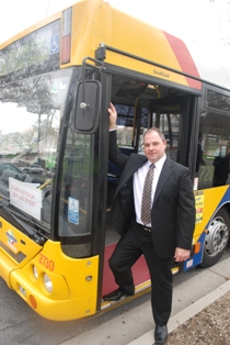 Allan Aitchison on the first i-Commute bus